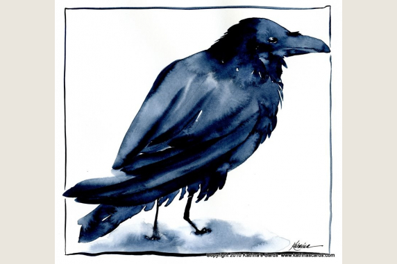 Raven watercolor print
