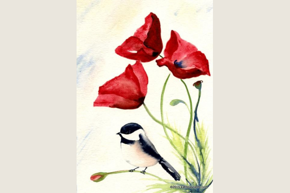 Chickadee and Poppies