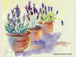Lavender in Terracotta watercolor print