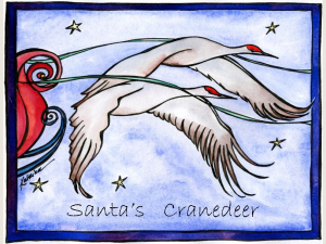 Santa's Crane Deer Christmas Cards Gift Set